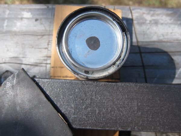 アイアン塗料 SCHUPPEN PANZER パンザーP ブラック 鉄脚に塗ったところ