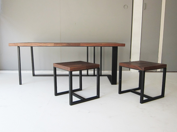 walnut living table,stool