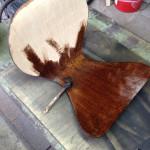 木の素地が出たらオイルステインを塗る