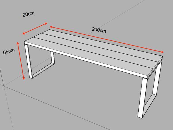 テーブル用鉄脚のサイズ指定の図