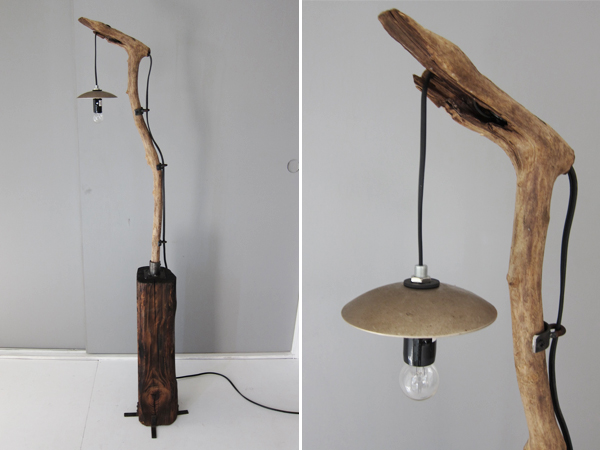 recycle wood floor lamp