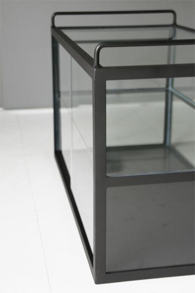 ガラスのショーケース フレームは黒マット