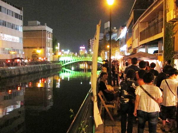 なやばし夜イチから錦橋を望む