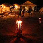 丸太のキャンプファイヤー