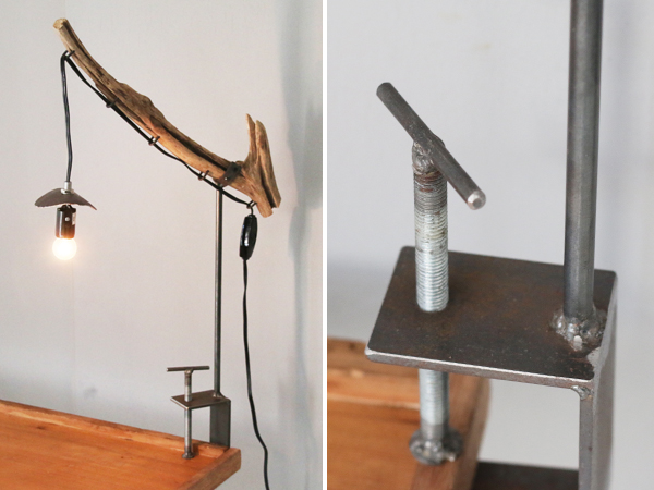 recycle wood clamp lamp