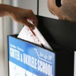 蒲郡駅前と岡崎市の「清水邦浩ギター・ウクレレ教室」さんの看板( 喫茶スロ-ス 二階)-11