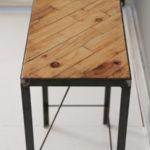 アイアン脚のパッチワークテーブル-4