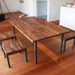 ウォルナット集製材のダイニングテーブルセット