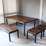ウォルナット集成材 リビングダイニングテーブルセット