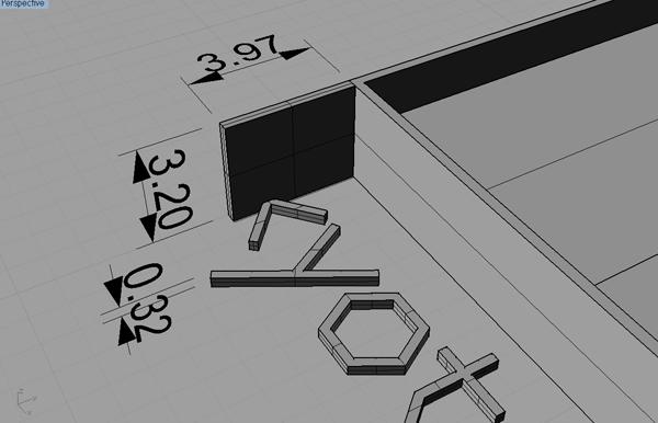 文字の高低差を分かりやすく3D図にしたもの