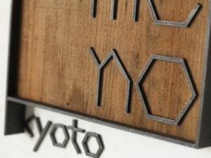 アイアンの文字と古い木の看板