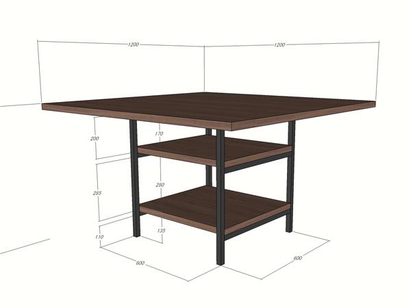 オーダーダイニングテーブルの図面1