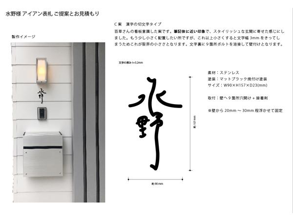 漢字の切り文字表札